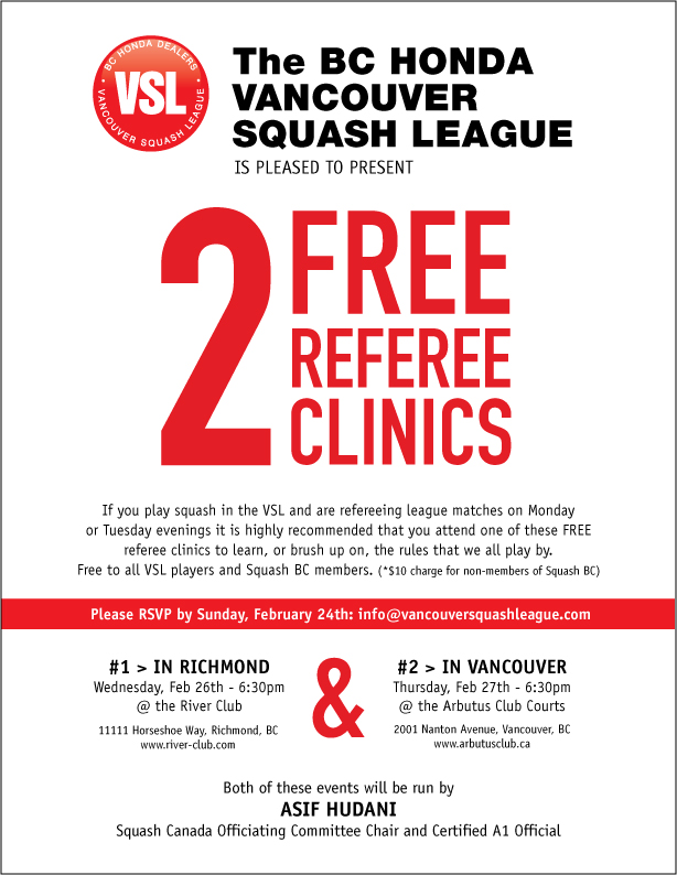 Referee Clinics The Vancouver Squash League