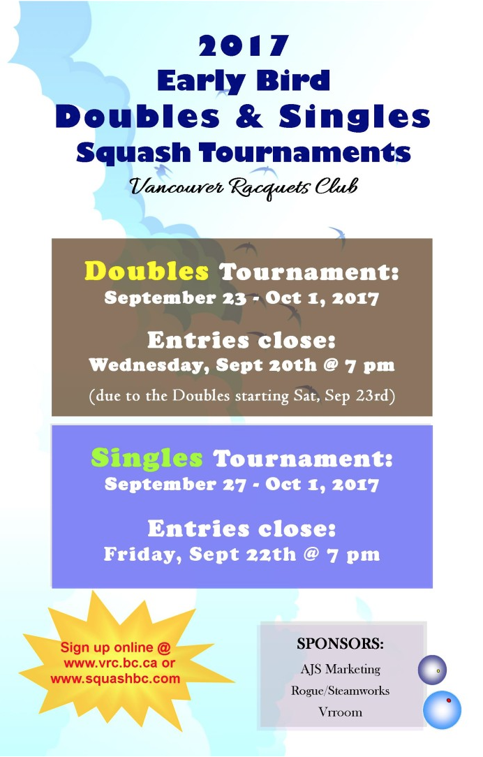 2017 VRC Earlybird Squash Tournament Poster