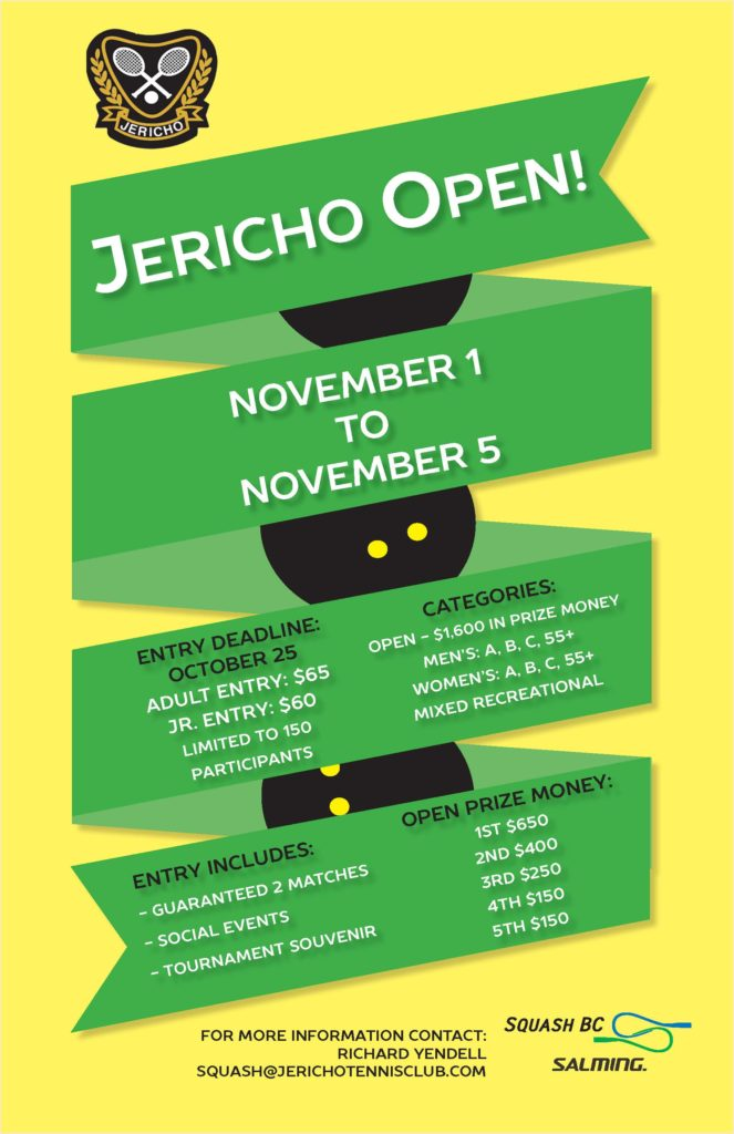 The Jericho Tennis Club presents the 2017 Jericho Open Squash Tournament