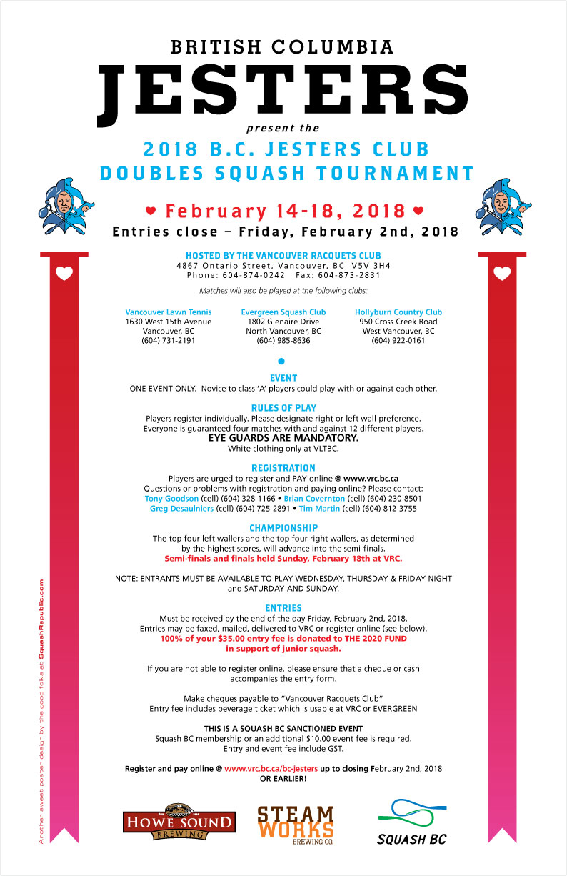 2018 BC Jesters Doubles Touranment at VRC