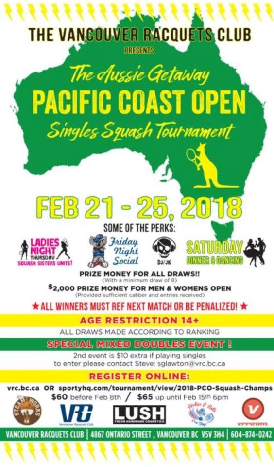 2018 PCO squash tournament at Vancouver Racquets Club